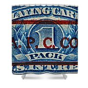 1940-1965 Internal Revenue Playing Cards Stamp Shower Curtain