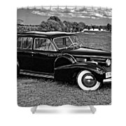 1940 Cadilac Bw Shower Curtain