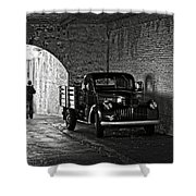 1940 Chevrolet Pickup Truck In Alcatraz Prison Shower Curtain by RicardMN Photography