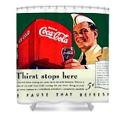 1940 - Coca-cola Advertisement - Color Shower Curtain