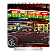 1940 Ford Deluxe Coupe At Mickeys Dinner  Shower Curtain
