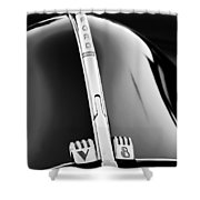 1940 Ford V8 Hood Ornament -323bw Shower Curtain
