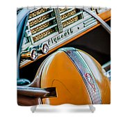 1940 Plymouth Deluxe Woody Wagon Steering Wheel Emblem -0116c Shower Curtain