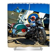 1940 Triumph And Supermarine Mk959 Spitfire  Shower Curtain