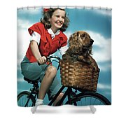 1940s 1950s Smiling Teen Girl Riding Shower Curtain