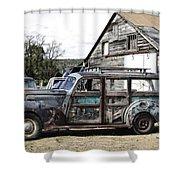 1940s Era Packard Wood-panel Wagon Shower Curtain