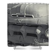 1940's Ford Truck Black And White Shower Curtain