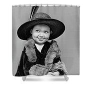 1940s Girl In Oversized Velvet Dress Shower Curtain