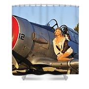1940s Style Aviator Pin-up Girl Posing Shower Curtain