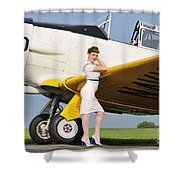 1940s Style Navy Pin-up Girl Leaning Shower Curtain by Christian Kieffer