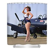 1940s Style Navy Pin-up Girl Posing Shower Curtain