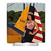 1940s Style Pin-up Girl Leaning Shower Curtain by Christian Kieffer