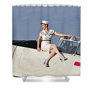 1940s Style Pin-up Girl Sitting Shower Curtain by Christian Kieffer