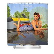 1940s Style Pin-up Girl With Parasol Shower Curtain by Christian Kieffer