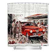 1941 - Ford Super Deluxe Automobile Advertisement - Color Shower Curtain