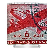 1941 - 1944 Six Cents Air Mail Stamp -  U. S. Army Cancelled Shower Curtain