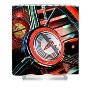 1941 Buick Eight Special Steering Wheel Emblem Shower Curtain