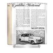 1941 Cadillac Fleetwood Sedan Vintage Ad Shower Curtain