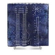 1941 Gibson Electric Guitar Patent Drawing Blue Shower Curtain