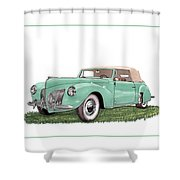 1941 Lincoln V-12 Continental Shower Curtain