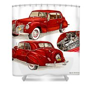1941 V 12  Lincoln Continental Shower Curtain