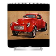 1941 Willys Gasser Coupe Drawing Shower Curtain