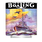 1942 - Motor Boating Magazine Cover - October - Color Shower Curtain