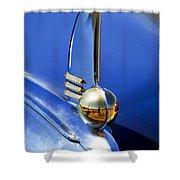 1942 Lincoln Zephyr 12 Hood Ornament Shower Curtain