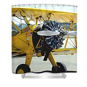 1943 Boeing Super Stearman 2 Shower Curtain