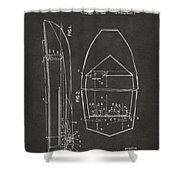 1943 Chris Craft Boat Patent Artwork - Gray Shower Curtain