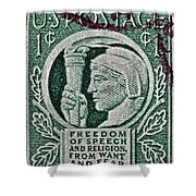1943 Freedom Of Speech And Religion Stamp Shower Curtain