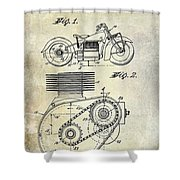 1943 Indian Motorcycle Patent Drawing Shower Curtain