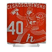 1945 Czechoslovakia Newspaper Stamp Shower Curtain