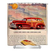 1946 - Pontiac Woodie Station Wagon And Convertible Advertisement - Color Shower Curtain