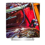1946 Ford Super Deluxe Sportsman Convertible Side Emblem Shower Curtain