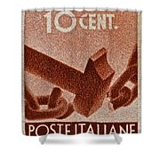 1946 Hammer That Breaks A Chain Italiane Stamp Shower Curtain