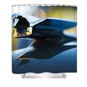 1947 Cadillac Model 62 Coupe Hood Ornament Shower Curtain