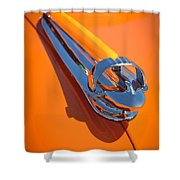 1947 Chevrolet Deluxe Hood Ornament Shower Curtain