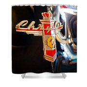 1947 Chrysler New Yorker Town And Country Convertible Emblem Shower Curtain