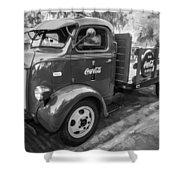 1947 Ford Coca Cola C.o.e. Delivery Truck Bw Shower Curtain