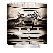 1947 Ford Deluxe Grille Grille Emblem Shower Curtain