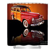 1947 Ford Woody Shower Curtain by Jim Carrell