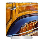 1947 Mercury Woody Reflecting Into 1947 Ford Woody Shower Curtain