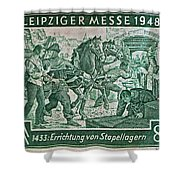 1948 Allied Occupation German Stamp Shower Curtain