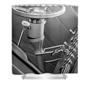 1948 Anglia Steering Wheel -504bw Shower Curtain