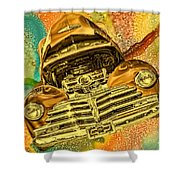 1948 Chev Gold Tie Dye Tilt Car Art Shower Curtain