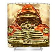 1948 Chev Red Gold Metal Art Shower Curtain