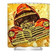 1948 Chevy Gold Acid Art Shower Curtain
