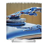 1948 Jaguar 2.5 Litre Drophead Coupe Hood Ornament Shower Curtain