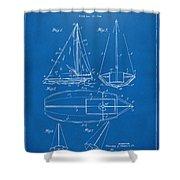 1948 Sailboat Patent Artwork - Blueprint Shower Curtain